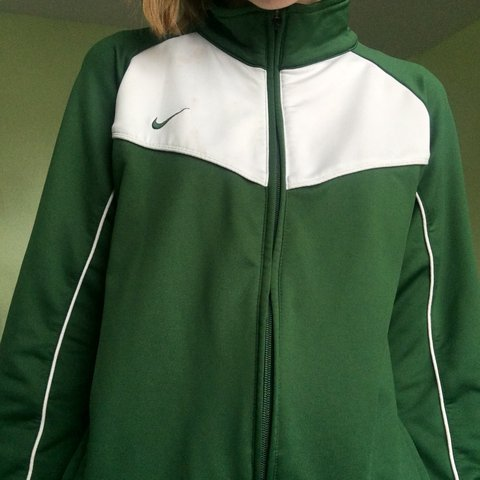 green and white nike zip up jacket. this is in amazing for a - Depop d7b7a70ce