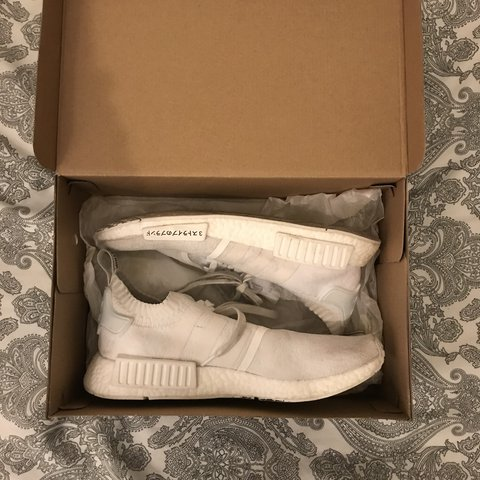 ad2a695f1 NMD white japan pk Worn a lot and with some staining Should - Depop
