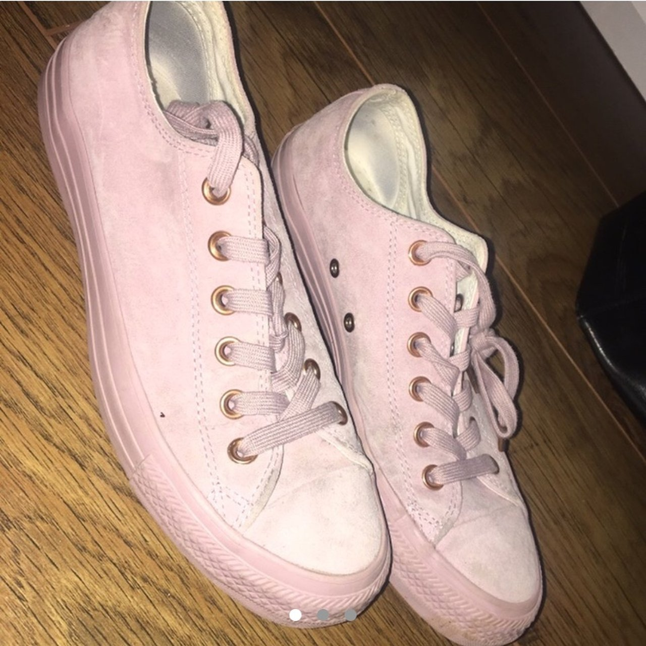 8362cc2e1dfd Converse pink suede edition with rose gold details. Size 6. - Depop