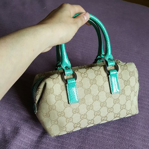 3976385176a Genuine Gucci small boston bag with beige GG monogram and on - Depop