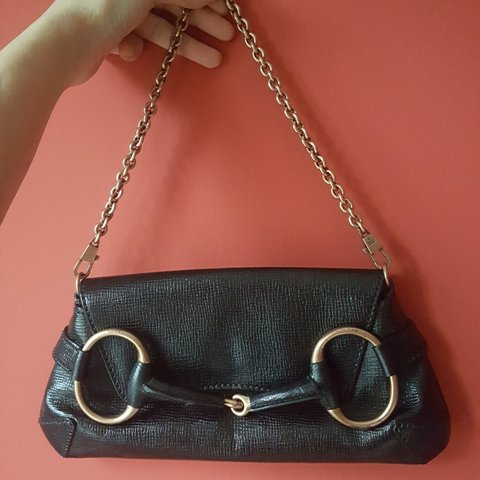 454763d86d30ea @baharsadri. 12 days ago. London, GB. Gucci horsebit clutch bag in black  leather and bronze ...