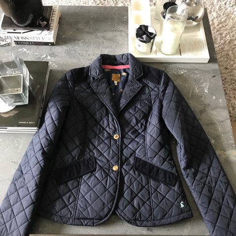 Joules Navy Quilted Jacket All Cute Joules Buttons And Size Depop