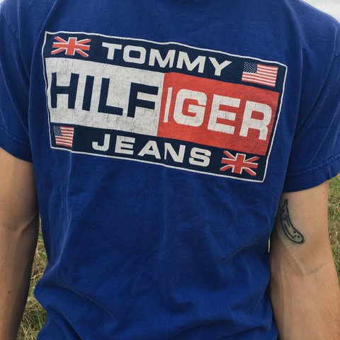 d5d5d99f @vegangogurto. 2 years ago. Columbia, MO, USA. Vintage Tommy Hilfiger Jeans  blue graphic tshirt.