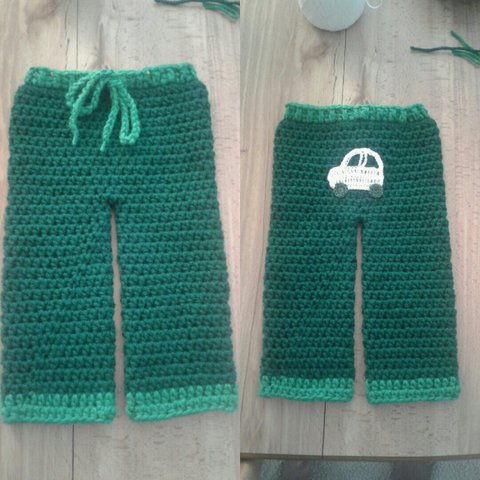Handmade Crocheted Baby Boys Pants With Car On Butt May Fit Depop