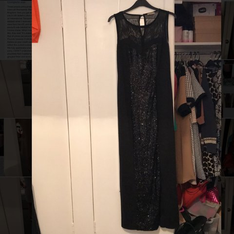 3c12201ea45 Floor length black sequin dress size 18 🖤🎀 worn once for a - Depop