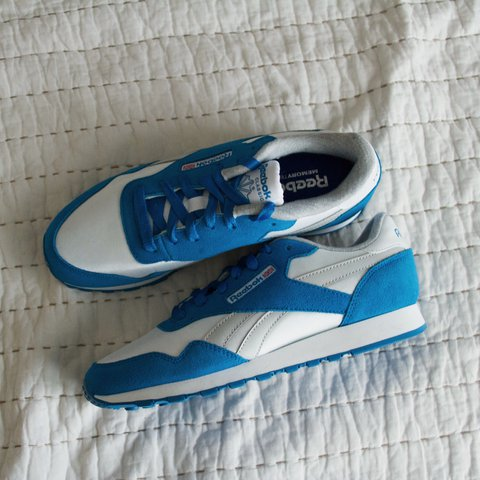 c220f7d42923 Reebok Classics Memory Tech Sole    NEVER WORN blue and with - Depop