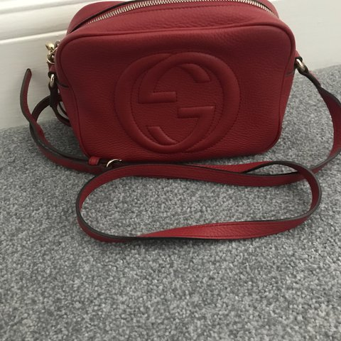 a145fbc9dc038 Gucci red leather soho bag. Cokes with bag box and receipt - Depop