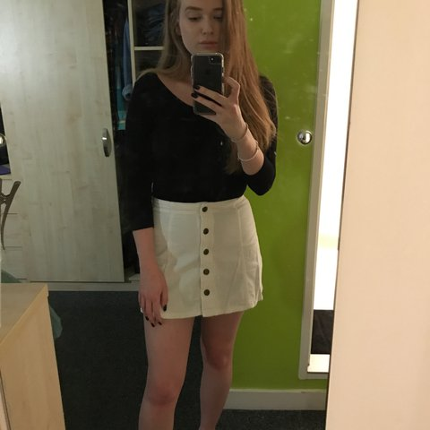0adfbb41b6 @racheleliz. 2 years ago. The Aston Triangle, United Kingdom. Topshop white  button up skirt.