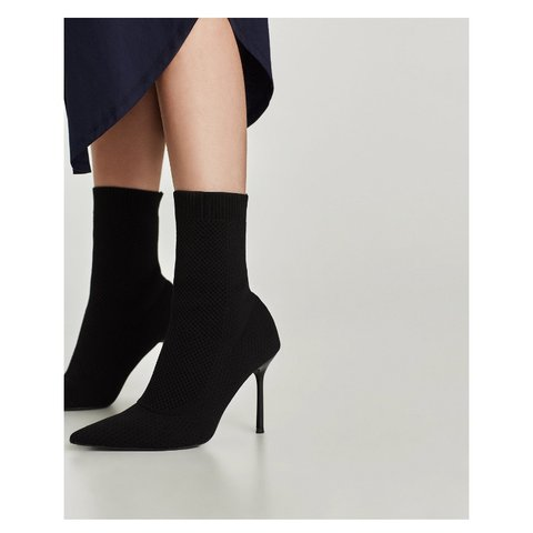 78f1e4b4190 Brand new Zara ankle stretch sock boot - high heel pointed a - Depop