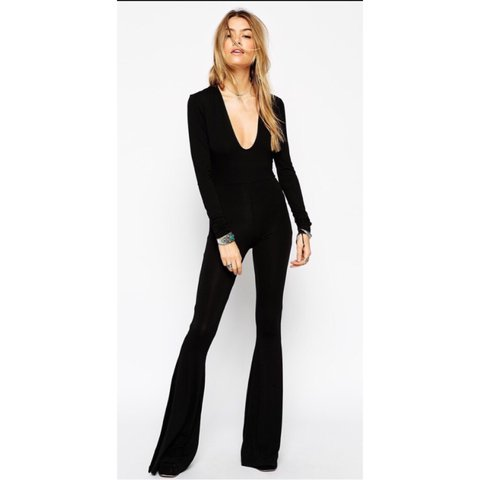 d244ff54f3 ASOS jumpsuit with plunge neck and flare legs. Size 10  acne - Depop