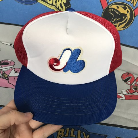 4c478138137a7 Vintage Montreal Expos Mesh Hat Cap Made in Korea. Has a few - Depop