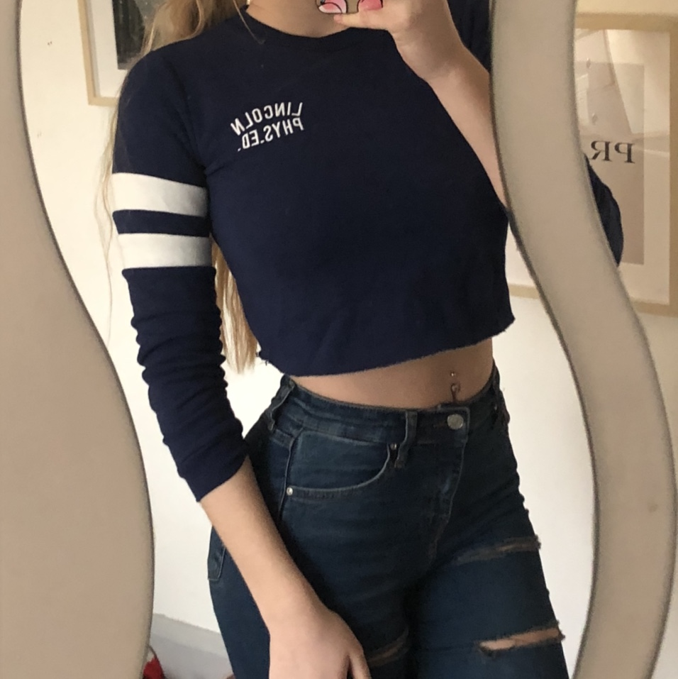 various styles low cost cheapest price Topshop navy and white cropped jumper Good... - Depop