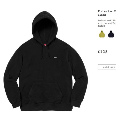 364f6ee16254 Supreme polartec small box logo hoodie in black - size M