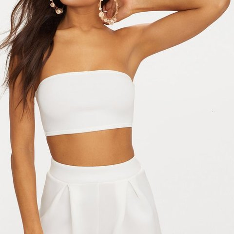 b710a42fa2 Missguided white tube top Style  ~White shoulder less  crop - Depop