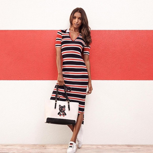 red white and blue tommy hilfiger dress