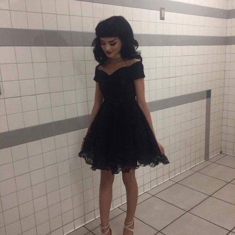 Cute Poofy Black Lace Dress Wore It Once For Winter Formal Depop