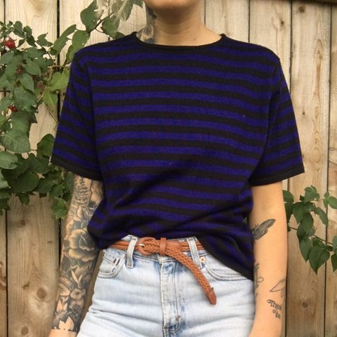striped short sleeve sweater size small vintage almost blue - Depop 6174cd83e