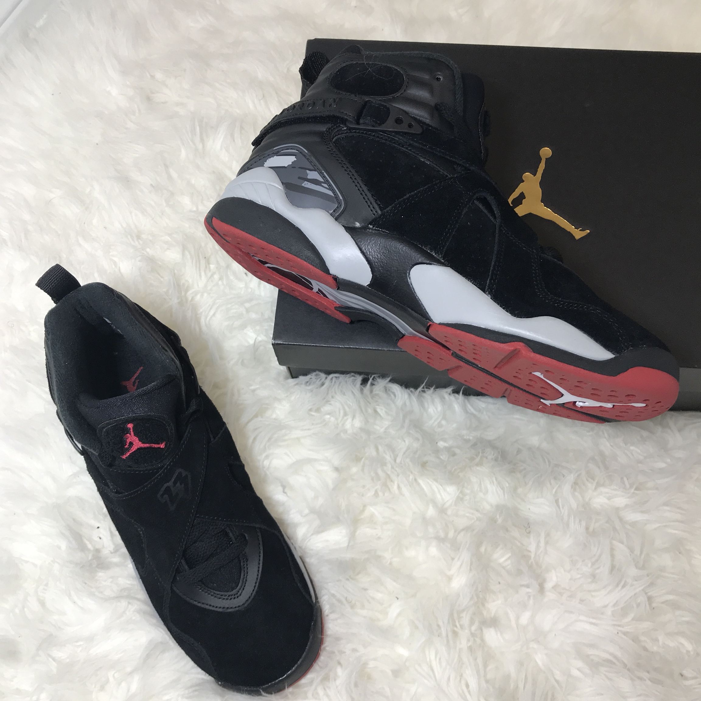 "sports shoes 02852 86584 Air Jordan retro 8 ""Bred Cement"" (Gym red-black wolf... - Depop"