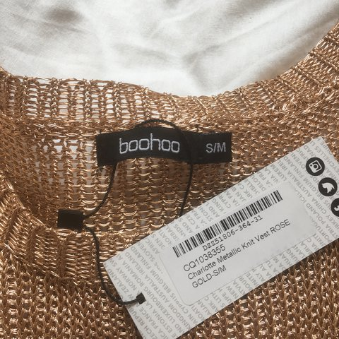fb1a6529fa01 sheer rose gold crochet top from boohoo. never been worn and - Depop