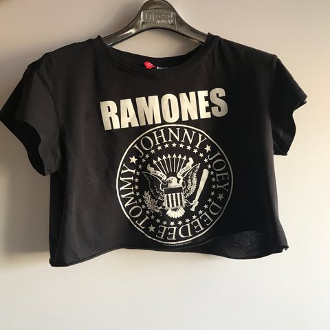 131515573c9fa1 Ramones band crop top in black from H M. Size S.  tshirt - Depop