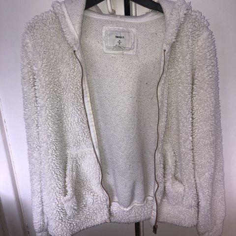 7f2eaa7ea7fa Forever 21 cream off white fluffy hoodie zip up jacket with - Depop