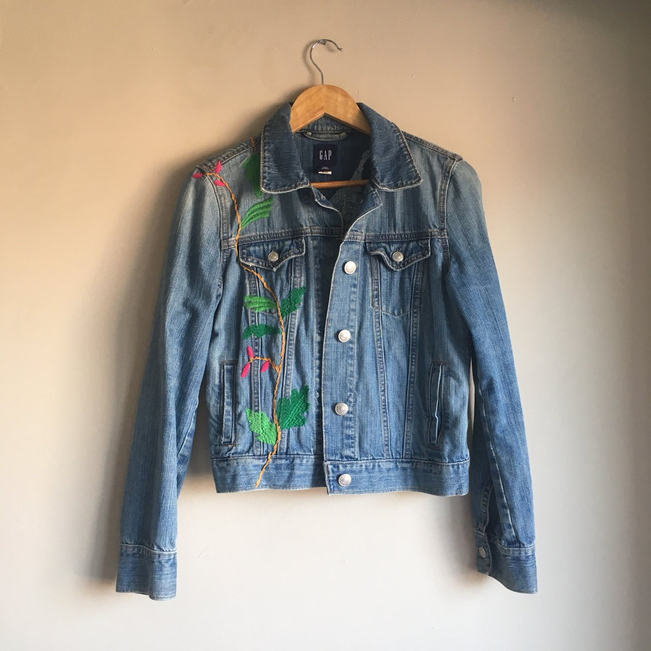 cc5c2f934b1 Amazing hand embroidered women s jean jacket with a on - Depop