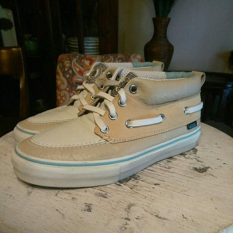 69806a1d11 Vans -beige tan leather upper -leather laces -1in are 😉 - Depop