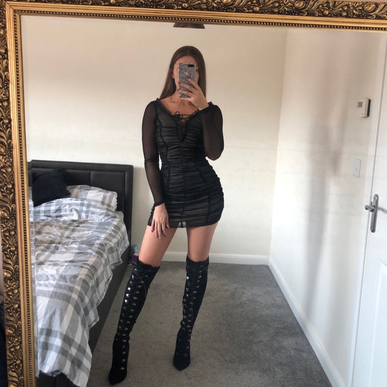 c8145d4f0e Bodycon Dress With Knee High Boots