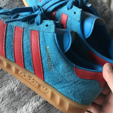 2598c8192ef01 Men s size 8 Adidas Hamburg in blue and red. Immaculate worn - Depop