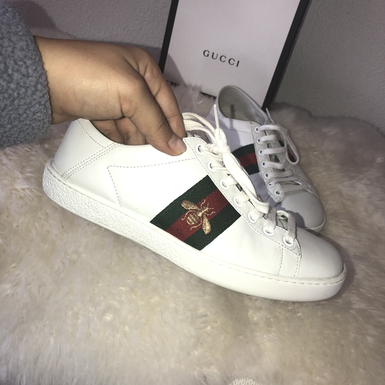677a73151 Gucci ace embroidered collapsible-heel leather... - Depop