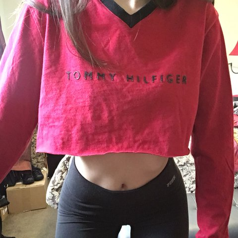 2b5b351b64cd ON HOLD Super cute cropped red Tommy Hilfiger shirt with - Depop