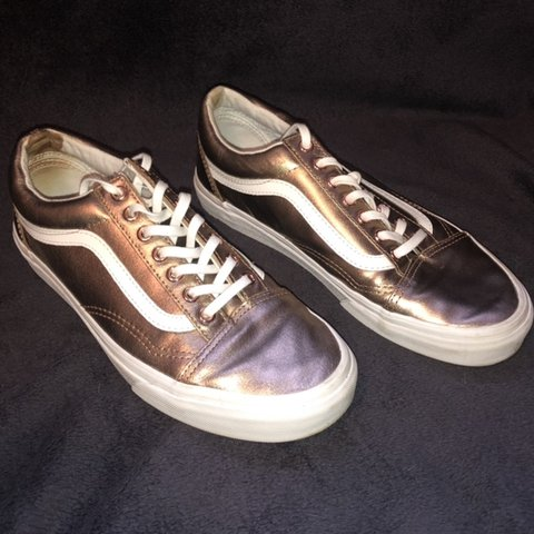 ba548b5c7a5b Vans Old Skool in a metallic rose gold leather upper and a - Depop