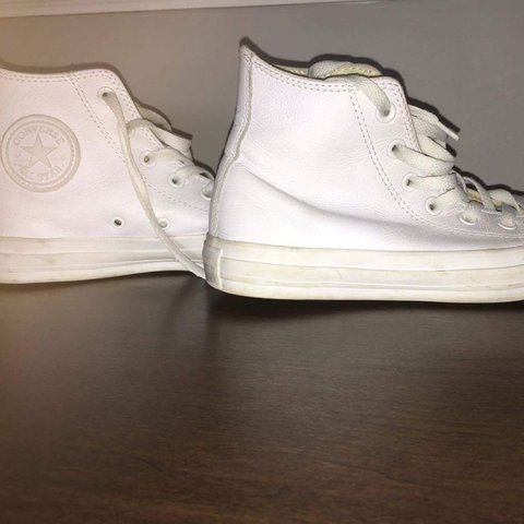 10ae76ef439837 All white high top leather converse