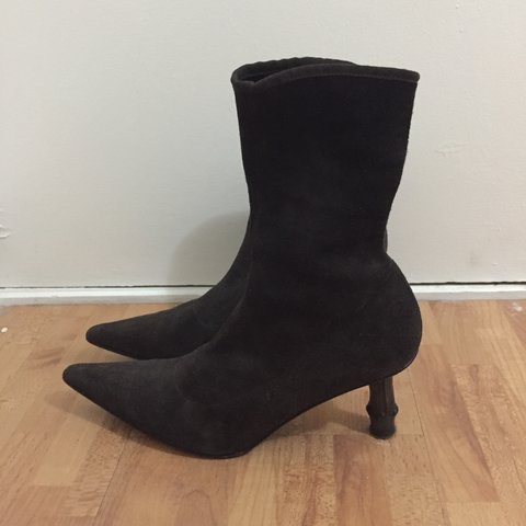 6eb4d9623 @keoy. 6 months ago. London, United Kingdom. GUCCI Bamboo heel sock boots  in dark brown suede ...