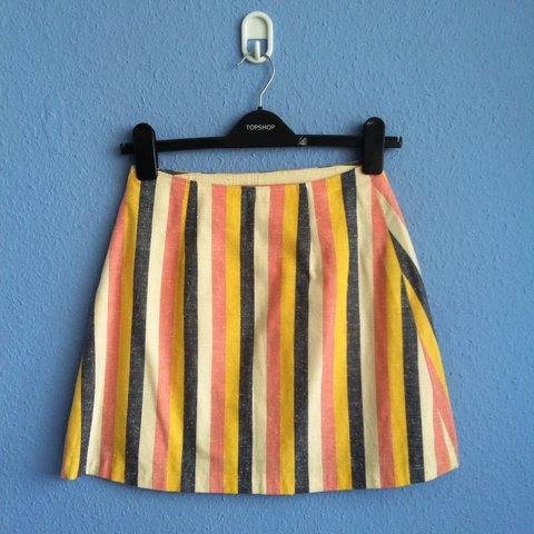 8f1dfe38f5 @ecmlbrn. 2 years ago. Manchester, United Kingdom. Unique pink blue white  and yellow pastel vertical striped a line mini skirt.