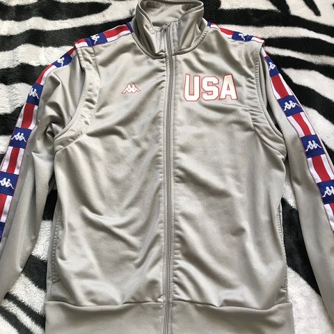 5ae36f25 Kappa USA Track & Field silver Tracksuit Top with... - Depop