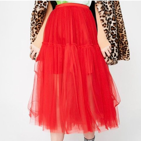 141cc9abf8 ❤ Red Tulle Mesh Maxi Skirt ❤ Expect this to be PUFFY! for - Depop