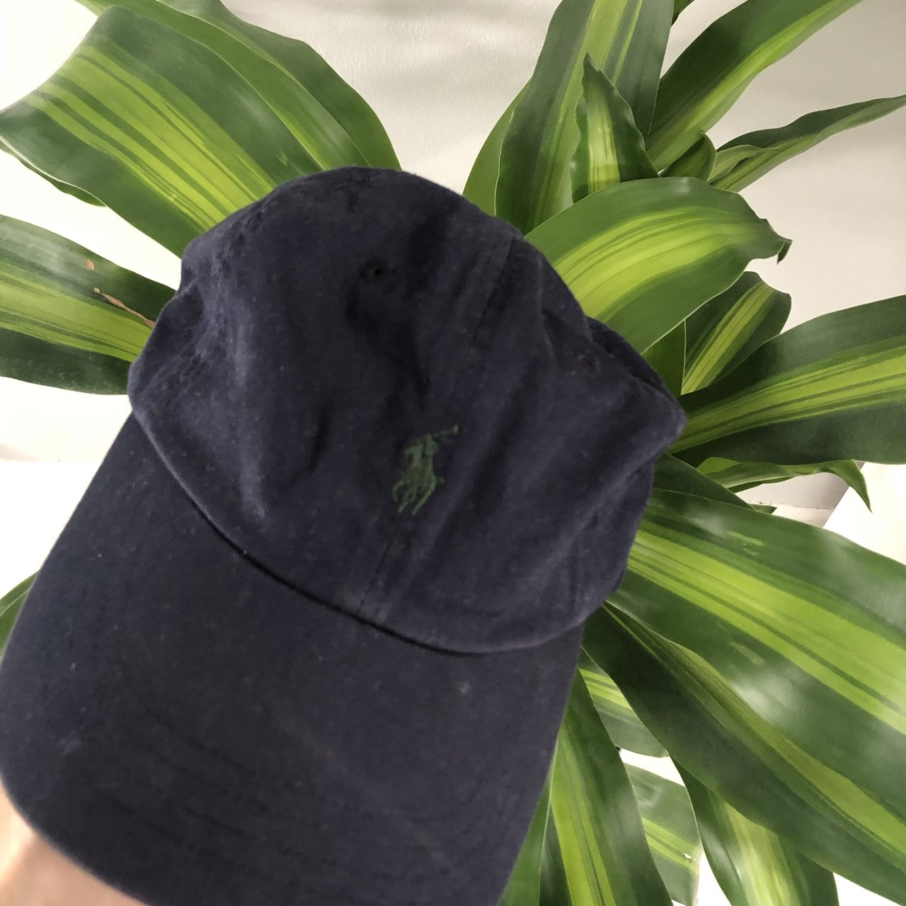 5a7ae3e7321 Vintage Unisex Ralph Lauren navy hat with green accents 💥 - Depop