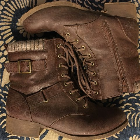 f0ac378d16a12 @raspytimbre. last year. Portland, United States. Vegan leather chocolate  brown boots with sweater tops and lace up ...
