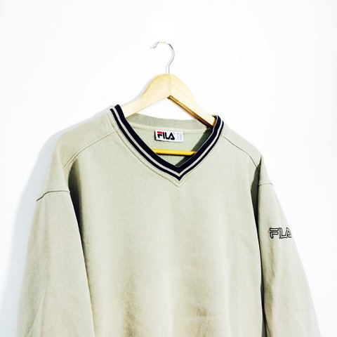 25887ebd945bb @thejumperjunction. 3 years ago. Reading, Reading, Reading, UK. Vintage  retro 90s 80s red beige Fila Sweater / Sweatshirt / Jumper | Size XL ...