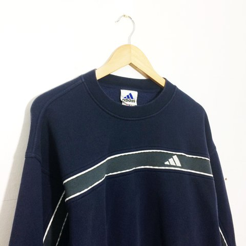 e087966a @thejumperjunction. 2 years ago. Reading, United Kingdom. Vintage retro 90s  80s Navy adidas sweater ...