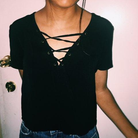 57002f51fd967 Black Forever 21 Strappy laced-up blouse. Size small 🤗 hang - Depop