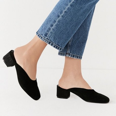 0dfb37b852d Black faux suede low block heel mules from Urban Outfitters