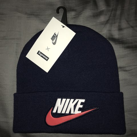 964a5a34905a1 Supreme x Nike collab beanie in navy Brand new with tags