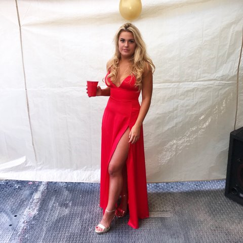 3017ed6a2e Gorgeous red satin style double split dress❤ Perfect as a I - Depop