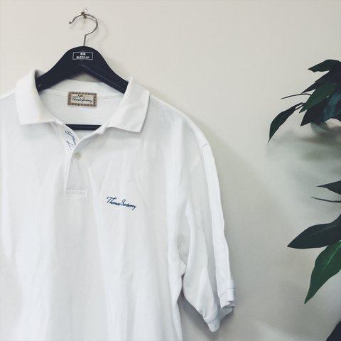 9ff26892 ➰ VINTAGE WHITE THOMAS BURBERRY EMBROIDERED SPELL OUT POLO a - Depop