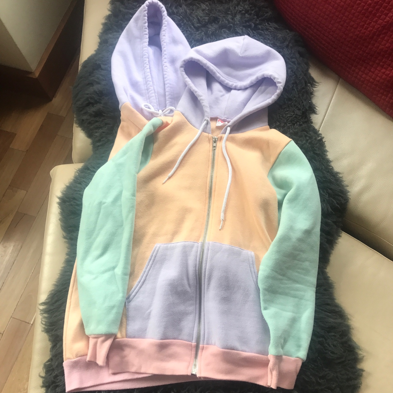 American Apparel Hoodie Color Block Pastel Depop
