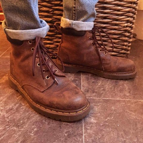 Dr Martens 939 Crazy Horse brown leather boots. Depop