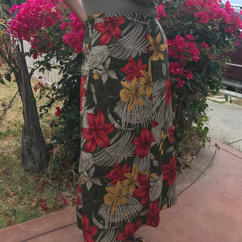 9875f749f6 Long Hawaiian skirt. Thrifted. Size 8. The colors on this - Depop