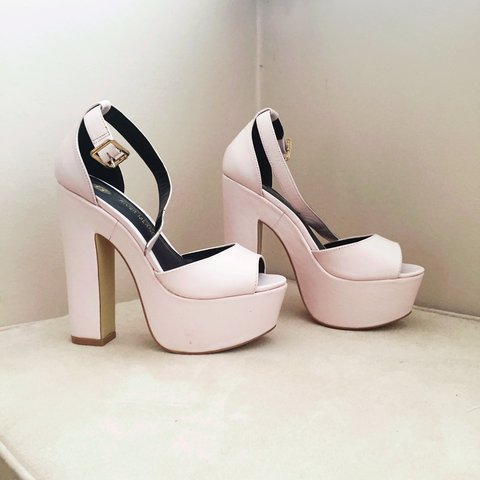 2584acb3575b River Island baby pink platform heels. Worn once. Small on ✨ - Depop